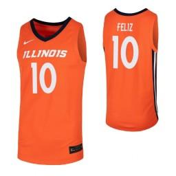 Illinois Fighting Illini #10 Andres Feliz Orange Authentic College Basketball Jersey