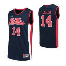 Youth Antavion Collum Authentic College Basketball Jersey Navy Ole Miss Rebels