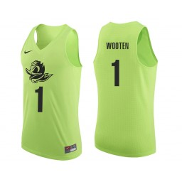 Youth Oregon Ducks #1 Kenny Wooten Authentic College Basketball Jersey Apple Green