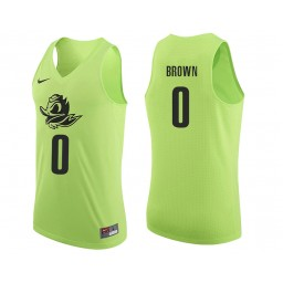 Youth Oregon Ducks #0 Troy Brown Authentic College Basketball Jersey Apple Green