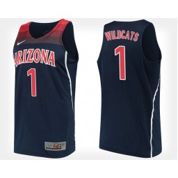 Arizona Wildcats #1 Navy Authentic College Basketball Jersey