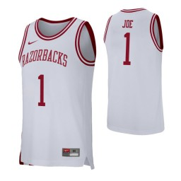 Arkansas Razorbacks #1 Isaiah Joe White Authentic College Basketball Jersey
