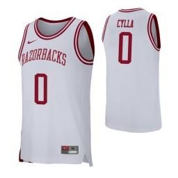 Arkansas Razorbacks #0 Jeantal Cylla White Authentic College Basketball Jersey