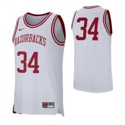 Arkansas Razorbacks #34 Authentic College Basketball Jersey White