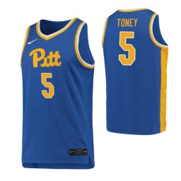 Youth Au'Diese Toney Authentic College Basketball Jersey Royal Pittsburgh Panthers