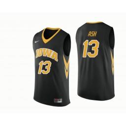Iowa Hawkeyes #13 Austin Ash Authentic College Basketball Jersey Black