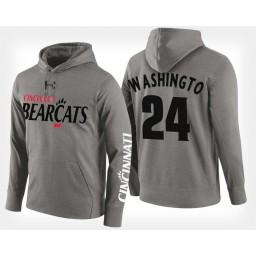 Cincinnati Bearcats #24 Kyle Washington Gray Hoodie College Basketball