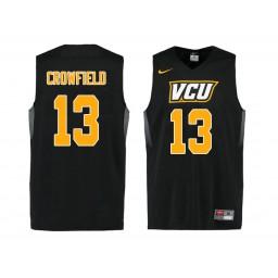 Women's VCU Rams #13 Malik Crowfield Authentic College Basketball Jersey Black