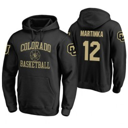 Colorado Buffaloes #12 AJ Martinka Men's Black College Basketball Hoodie