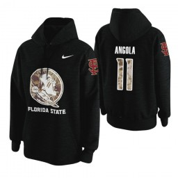 Florida State Seminoles #11 Braian Angola Men's Black College Basketball Hoodie