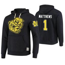 Michigan Wolverines #1 Charles Matthews Men's Black College Basketball Hoodie