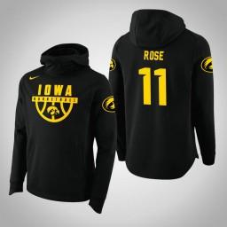 Iowa Hawkeyes #11 Charlie Rose Men's Black College Basketball Hoodie