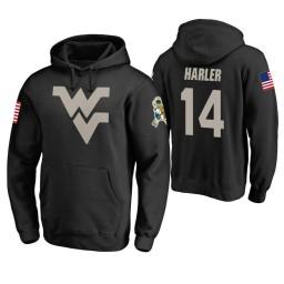 West Virginia Mountaineers #14 Chase Harler Men's Black College Basketball Hoodie
