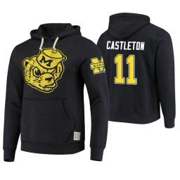 Michigan Wolverines #11 Colin Castleton Men's Black College Basketball Hoodie