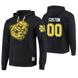 Michigan Wolverines #00 Custom Men's Black College Basketball Hoodie