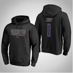 Washington Huskies #1 David Crisp Men's Black College Basketball Hoodie