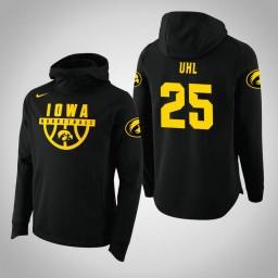 Iowa Hawkeyes #25 Dom Uhl Men's Black College Basketball Hoodie