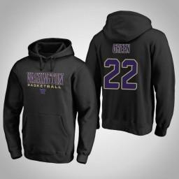 Washington Huskies #22 Dominic Green Men's Black College Basketball Hoodie