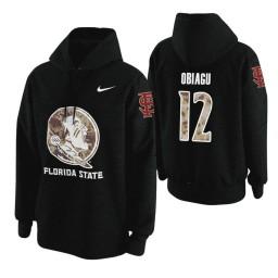 Florida State Seminoles #12 Ike Obiagu Men's Black College Basketball Hoodie