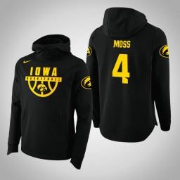 Iowa Hawkeyes #4 Isaiah Moss Men's Black College Basketball Hoodie