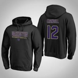 Washington Huskies #12 Jason Crandall Men's Black College Basketball Hoodie