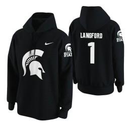 Michigan State Spartans #1 Joshua Langford Men's Black College Basketball Hoodie