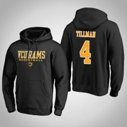 VCU Rams #4 Justin Tillman Men's Black College Basketball Hoodie