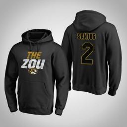 Missouri Tigers #2 K.J. Santos Men's Black Team Hometown Collection Pullover Hoodie
