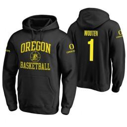 Oregon Ducks #1 Kenny Wooten Men's Black College Basketball Hoodie