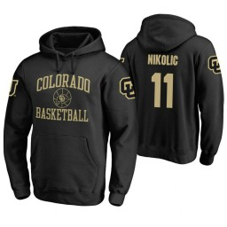 Colorado Buffaloes #11 Lazar Nikolic Men's Black College Basketball Hoodie