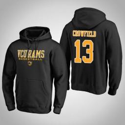 VCU Rams #13 Malik Crowfield Men's Black College Basketball Hoodie
