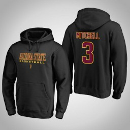 Arizona State Sun Devils #3 Mickey Mitchell Men's Black College Basketball Hoodie