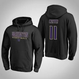 Washington Huskies #11 Nahziah Carter Men's Black College Basketball Hoodie