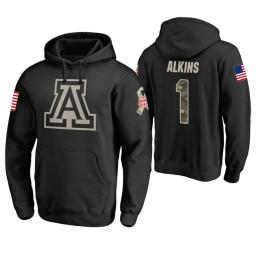 Arizona Wildcats #1 Rawle Alkins Men's Black College Basketball Hoodie