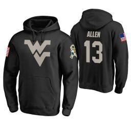 West Virginia Mountaineers #13 Teddy Allen Men's Black College Basketball Hoodie