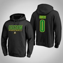 Oregon Ducks #0 Troy Brown Men's Black College Basketball Hoodie