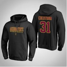 Arizona State Sun Devils #31 Zylan Cheatham Men's Black College Basketball Hoodie