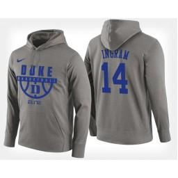 Duke Blue Devils #14 Brandon Ingram Gray Hoodie College Basketball