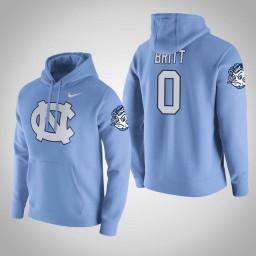 North Carolina Tar Heels #0 Nate Britt Men's Blue College Basketball Hoodie
