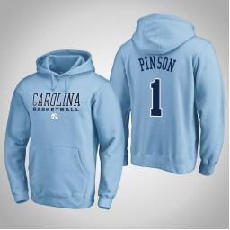 North Carolina Tar Heels #1 Theo Pinson Men's Blue College Basketball Hoodie