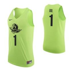 Youth Oregon Ducks #1 Bol Bol Authentic College Basketball Jersey Apple Green