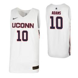 Women's Brendan Adams Authentic College Basketball Jersey White UConn Huskies