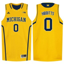 Youth Michigan Wolverines #0 Brent Hibbitts Authentic College Basketball Jersey Gold