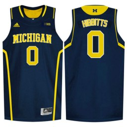 Youth Michigan Wolverines #0 Brent Hibbitts Authentic College Basketball Jersey Navy
