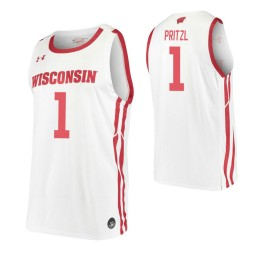 Brevin Pritzl Authentic College Basketball Jersey White Wisconsin Badgers