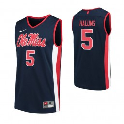 Youth Ole Miss Rebels 5 Brian Halums Authentic College Basketball Jersey Navy
