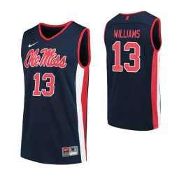 Youth Ole Miss Rebels #13 Bryce Williams Navy Authentic College Basketball Jersey