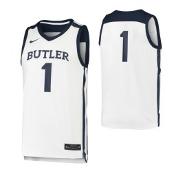 Butler Bulldogs #1 Authentic College Basketball Jersey White