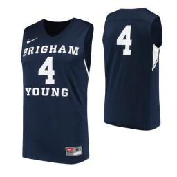 BYU Cougars #4 Authentic College Basketball Jersey Navy