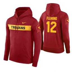 USC Trojans #12 Devin Fleming Men's Cardinal Pullover Hoodie